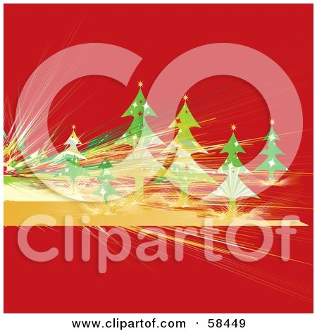 Royalty-Free (RF) Clipart Illustration of a Red Christmas Background With Fractal Lines And Evergreen Trees by MilsiArt