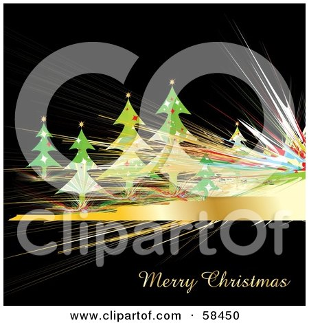 Royalty-Free (RF) Clipart Illustration of a Christmas Trees And Golden Fractal Lines On Black by MilsiArt