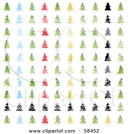 Royalty-Free (RF) Clipart Illustration of a Digital Collage Of Stylized Christmas Trees by MilsiArt