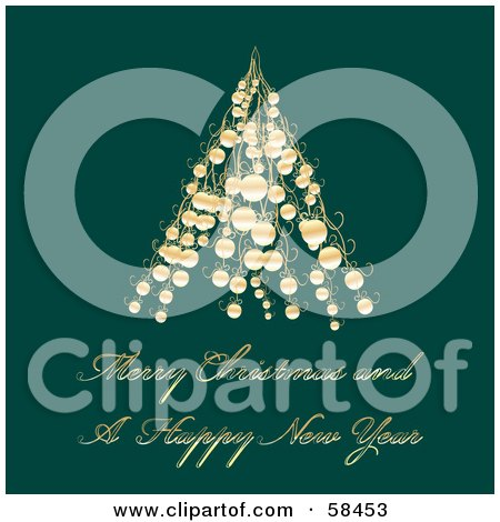 Royalty-Free (RF) Clipart Illustration of a Green Christmas Greeting With A Gold Tree Made Of Baubles by MilsiArt