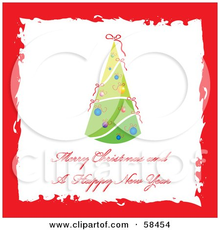 Royalty-Free (RF) Clipart Illustration of a Red Grunge Border Around A Christmas Tree Greeting by MilsiArt
