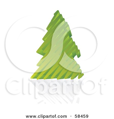 Royalty-Free (RF) Clipart Illustration of a Green 3d Scribble Christmas Tree With A Reflection by MilsiArt