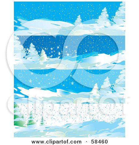 Royalty-Free (RF) Clipart Illustration of a Digital Collage Of Four Winter Landscape Banners by MilsiArt