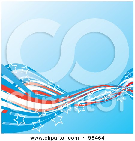 Royalty-Free (RF) Clipart Picture of a Blue Background With American Swooshes And Stars - Version 2 by MilsiArt
