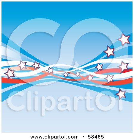 Royalty-Free (RF) Clipart Picture of a Blue Background With American Swooshes And Stars - Version 3 by MilsiArt