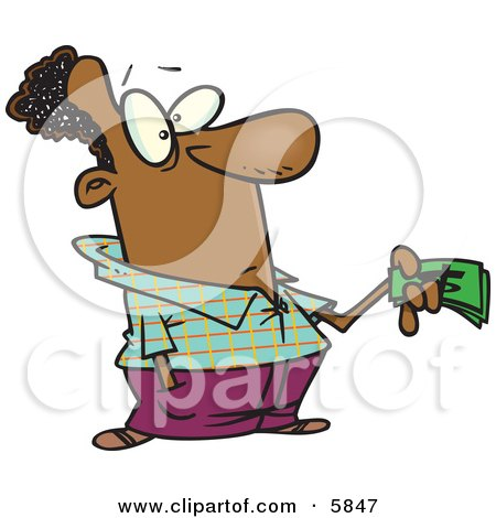 Man Holding Money While Making a Purchase Clipart Illustration by toonaday
