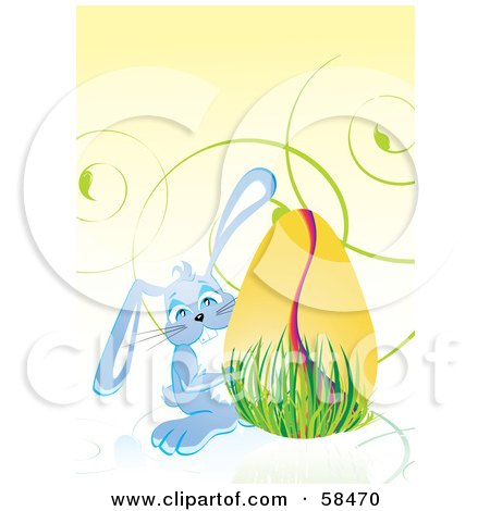 Royalty-Free (RF) Clipart Illustration of a Cute Blue Easter Bunny Peeking Around A Golden Egg In Grass by MilsiArt