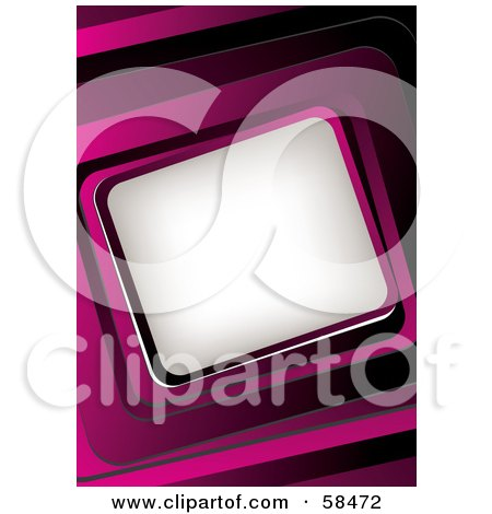 Royalty-Free (RF) Clipart Illustration of a Pink 3d Curved Frame Around White Space by MilsiArt