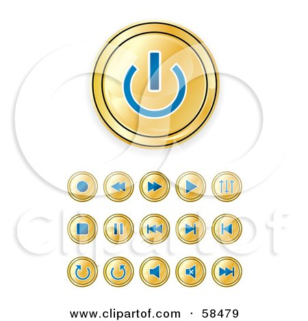 Royalty-Free (RF) Clipart Illustration of a Digital Collage Of Shiny Gold And Blue Media Buttons by MilsiArt