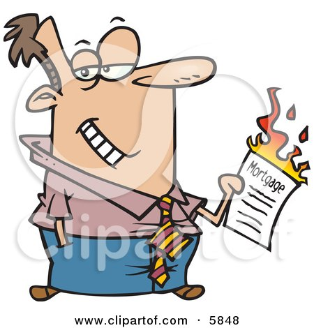 Man Burning His Mortgage Papers Clipart Illustration