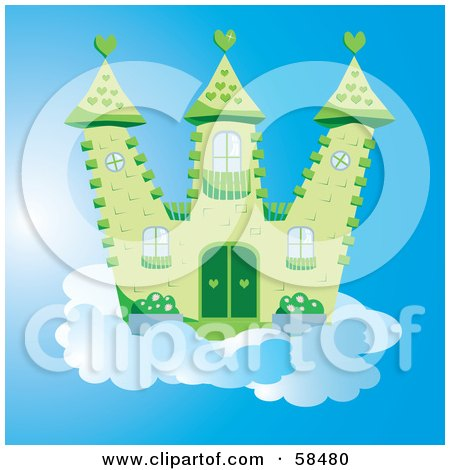 Royalty-Free (RF) Clipart Illustration of a Green Fantasy Castle With Heart Designs, On A Cloud In The Blue Sky by MilsiArt