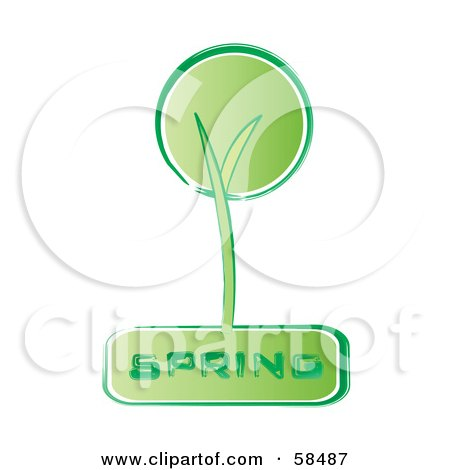 Royalty-Free (RF) Clipart Illustration of a Retro Styled Green Spring Tree Icon by MilsiArt