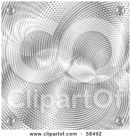 Royalty-Free (RF) Clipart Illustration of a Background Of Metallic Lined Texture With Screws by MilsiArt