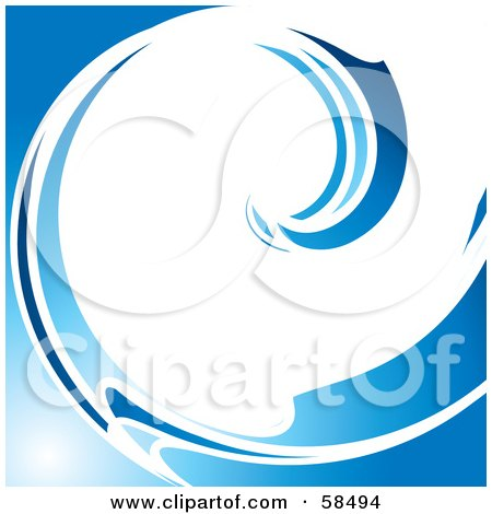 Royalty-Free (RF) Clipart Illustration of a White And Blue Curling Wave Background by MilsiArt