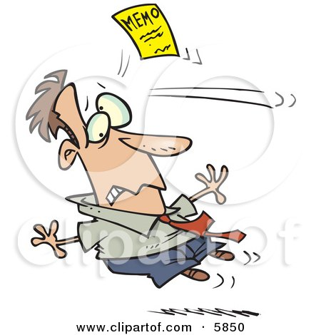 Man Being Attacked by a Yellow Memo Paper Clipart Illustration by toonaday