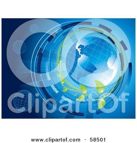 Blue Binary Globe Circled By Organic Vines And Binary Code - Version 2 Posters, Art Prints