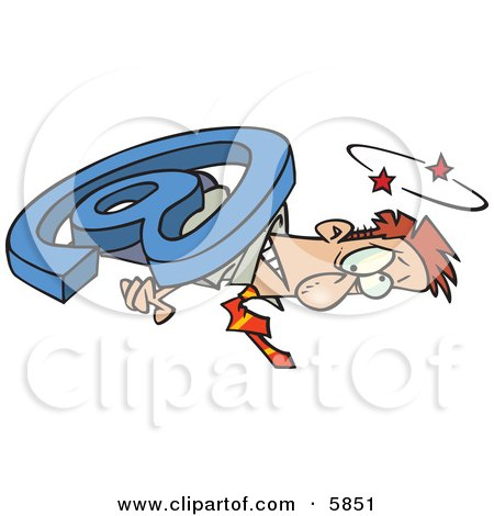 Man Overwhelmed and Being Squished With an Email Symbol Clipart Illustration by toonaday
