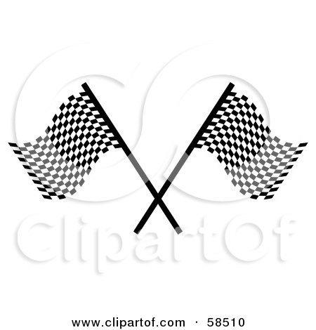 Royalty-Free (RF) Clipart Illustration of a Couple Of Crossed Racing Fags - Version 1 by MilsiArt