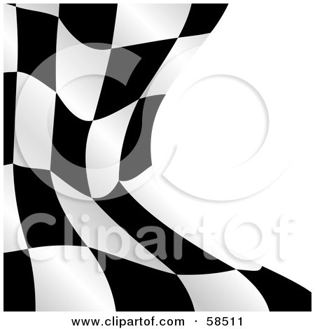 Royalty-Free (RF) Clipart Illustration of a Waving Race Flag Background On White - Version 2 by MilsiArt