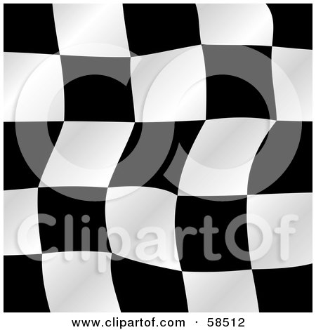 Royalty-Free (RF) Clipart Illustration of a Waving Race Flag Background On White - Version 3 by MilsiArt