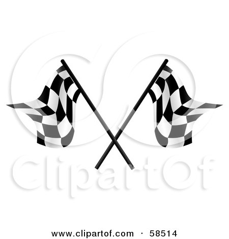 Royalty-Free (RF) Clipart Illustration of a Couple Of Crossed Racing Fags - Version 3 by MilsiArt