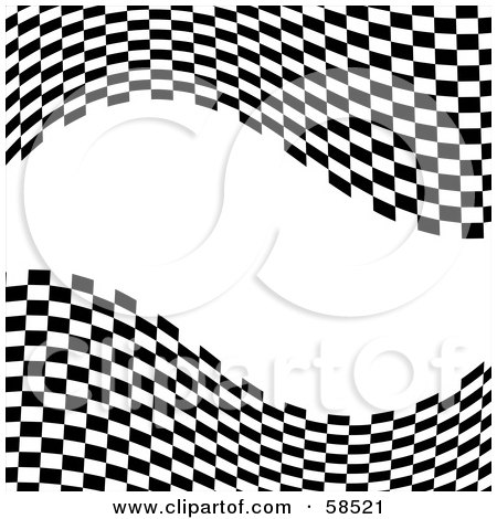 Royalty-Free (RF) Clipart Illustration of a Waving Race Flag Background On White - Version 9 by MilsiArt