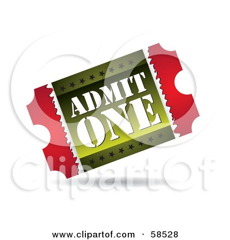 royalty free  rf  clipart illustration of a red and green ticket stub clip art free vintage ticket stub clipart