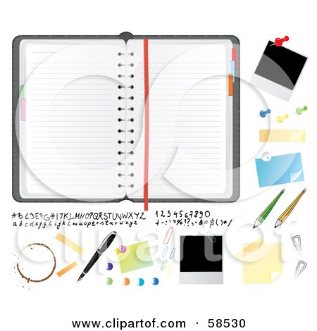 Royalty-Free (RF) Clipart Illustration of a Digital Collage Of A Planner And Bulletin Items by MilsiArt