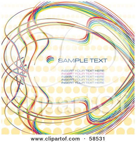 Royalty-Free (RF) Clipart Illustration of a Rainbow Halftone Background With Sample Text - Version 1 by MilsiArt