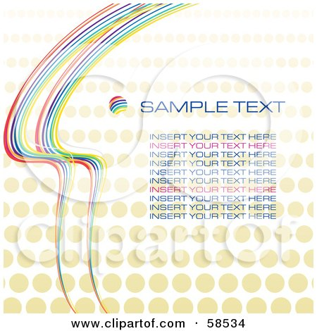 Royalty-Free (RF) Clipart Illustration of a Rainbow Halftone Background With Sample Text - Version 4 by MilsiArt