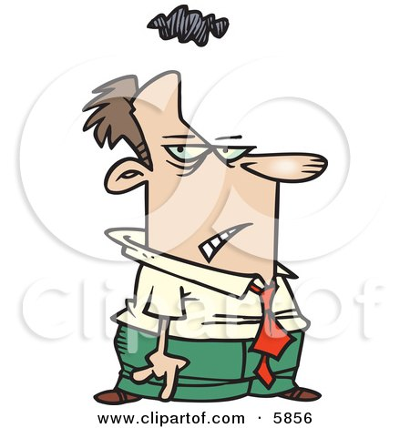 Gloomy Caucasian Business Man With a Cloud Over His Head Clipart Illustration by toonaday
