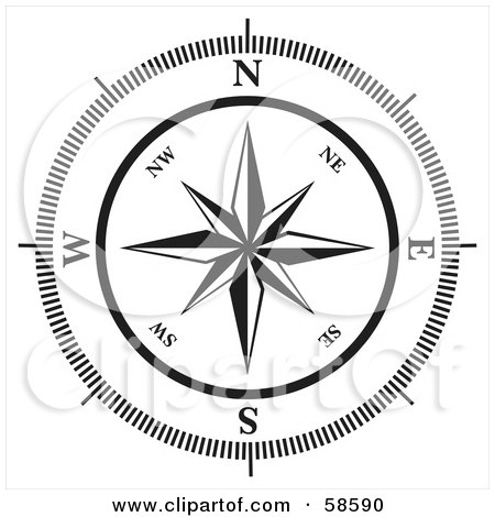 Royalty-Free (RF) Clipart Illustration of a Black And White Compass Rose by MilsiArt