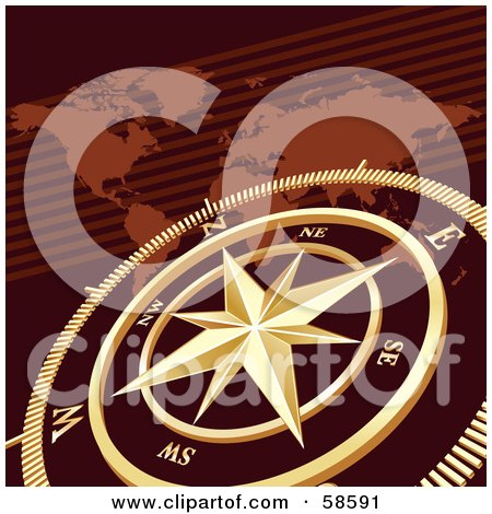 Royalty-Free (RF) Clipart Illustration of a Golden Compass Over A Brown Atlas by MilsiArt