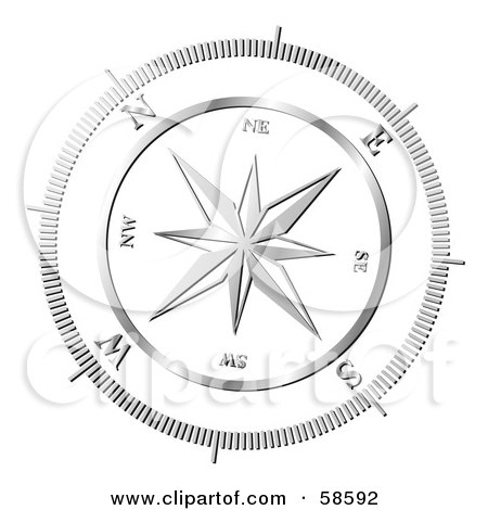 Royalty-Free (RF) Clipart Illustration of a Chrome Compass Rose by MilsiArt