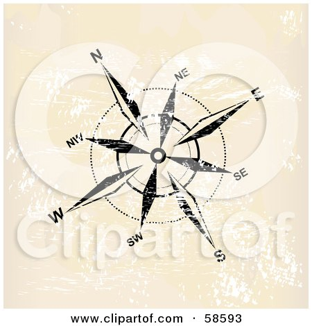 Royalty-Free (RF) Clipart Illustration of a Black And White Compass Rose On Beige Grunge by MilsiArt