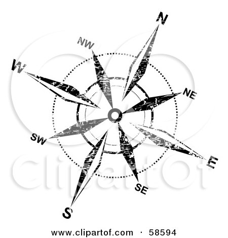 Royalty-Free (RF) Clipart Illustration of a Grungy Black And White Compass Rose by MilsiArt