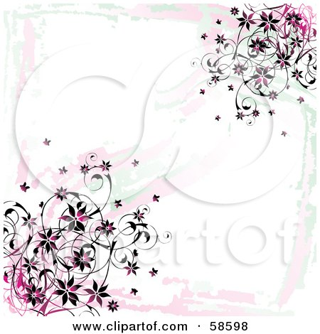 Royalty-Free (RF) Clipart Illustration of a Grungy Pink Flower Vine Background On White by MilsiArt