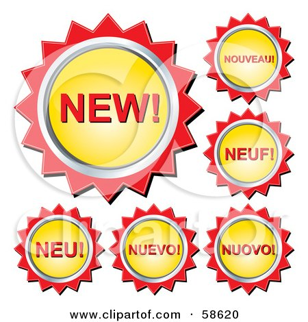 Royalty-Free (RF) Clipart Illustration of Yellow And Red New Button Labels In Different Languages by MilsiArt