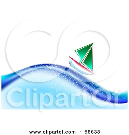 Royalty-Free (RF) Clipart Illustration of a Small Boat Saling Along Ocean Waves by MilsiArt