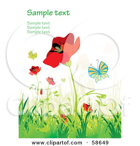 Royalty-Free (RF) Clipart Illustration of a Poppy Field And Butterfly Background With Sample Text - Version 1 by MilsiArt