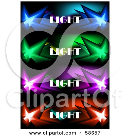 Royalty-Free (RF) Clipart Illustration of a Digital Collage Of Four Colorful Bursting Light Banners by MilsiArt