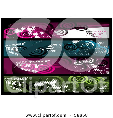Royalty-Free (RF) Clipart Illustration of a Digital Collage Of Four Grungy Spiral Banners by MilsiArt