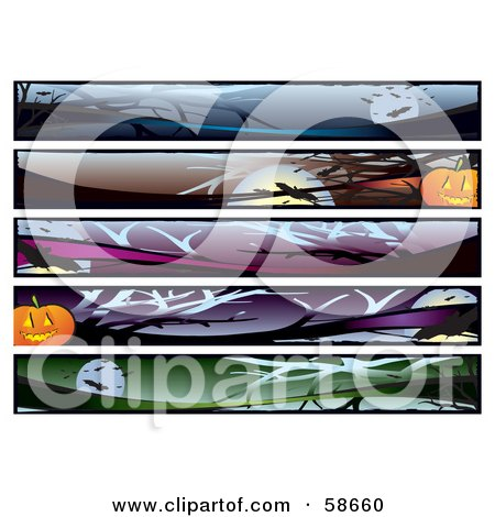Royalty-Free (RF) Clipart Illustration of a Digital Collage Of Five Creepy Halloween Banners by MilsiArt