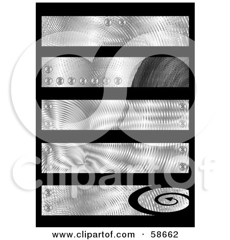 Royalty-Free (RF) Clipart Illustration of a Digital Collage Of Five Industrial Chrome Banners by MilsiArt