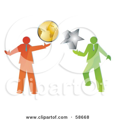 Royalty-Free (RF) Clipart Illustration of a Digital Collage Of Green And Orange Businessmen Holding A Globe And Star by MilsiArt