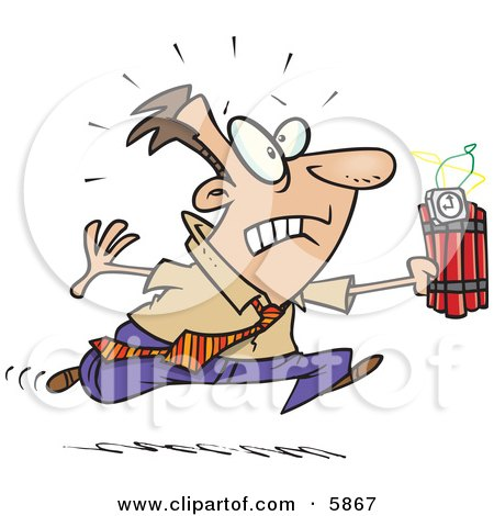 Caucasian Man Running With Dynamite, Trying to Save the Day Clipart Illustration by toonaday