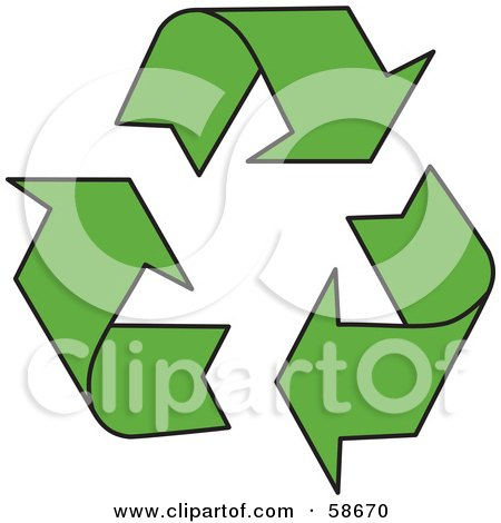 Royalty-Free (RF) Clipart Illustration of a Solid Green Three Recycle Arrow Icon by MilsiArt
