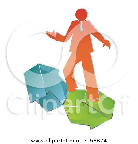 Royalty-Free (RF) Clipart Illustration of an Orange Business Man Balancing Green And Blue Arrows by MilsiArt