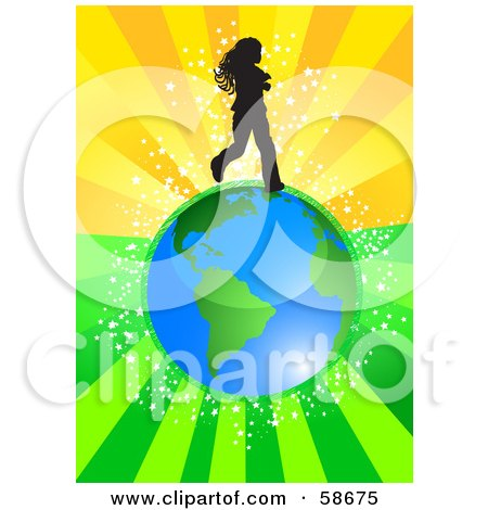 Royalty-Free (RF) Clipart Illustration of a Silhouetted Girl Running Over Earth, On A Bursting Green And Orange Background by MilsiArt