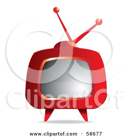 Royalty-Free (RF) Clipart Illustration of a Retro Red Tv With Legs by MilsiArt